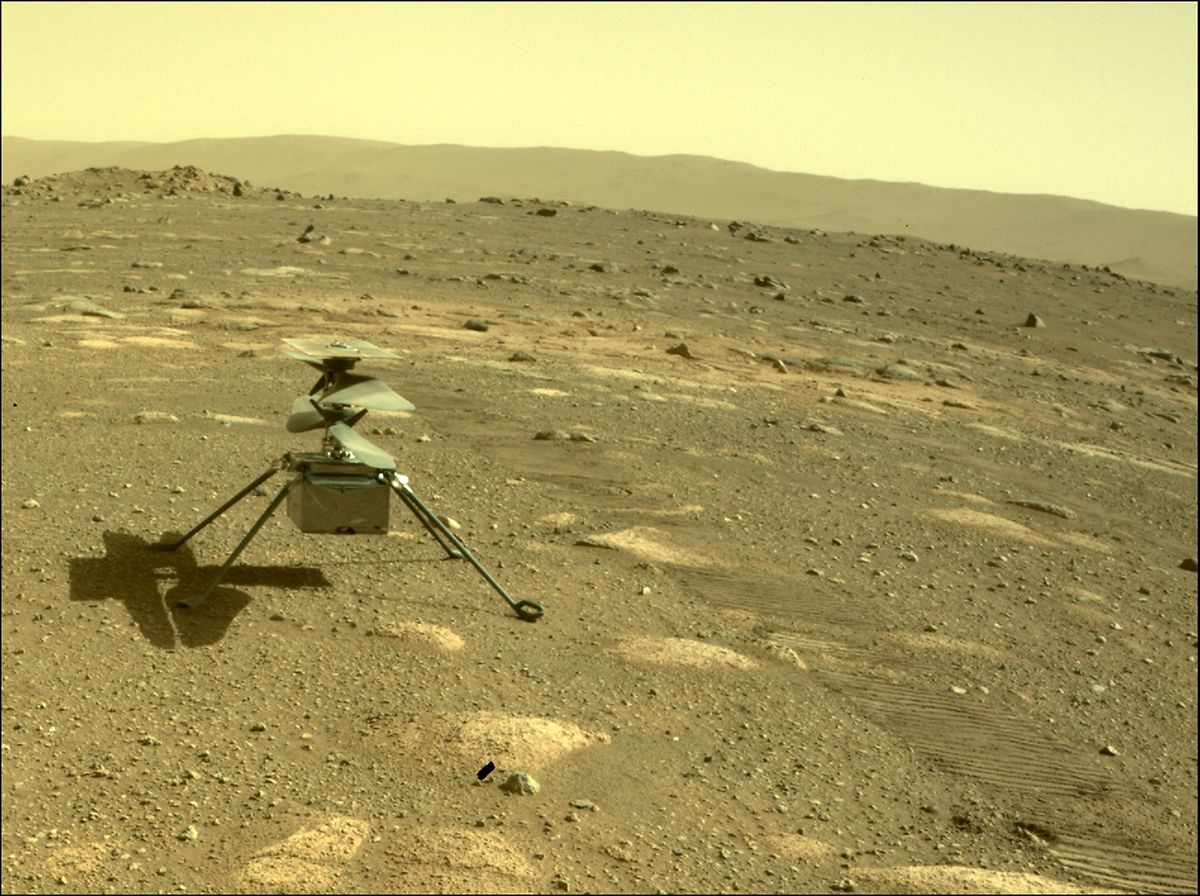 """Der Hubschrauber """"Ingenuity"""" auf deinem Originalfoto des Mars-Rovers """"Perseverance""""."""