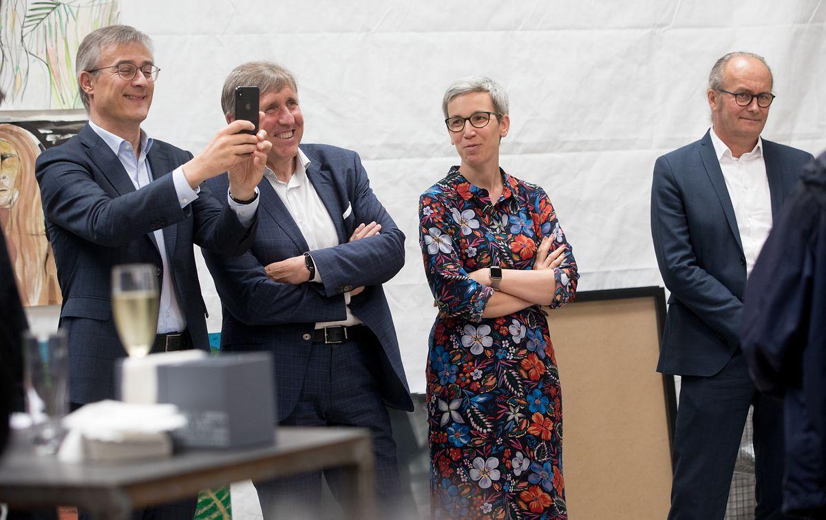 Felix Braz, Francois Bausch, Sam Tanson et Claude Turmes lors de la conférence de presse, jeudi.