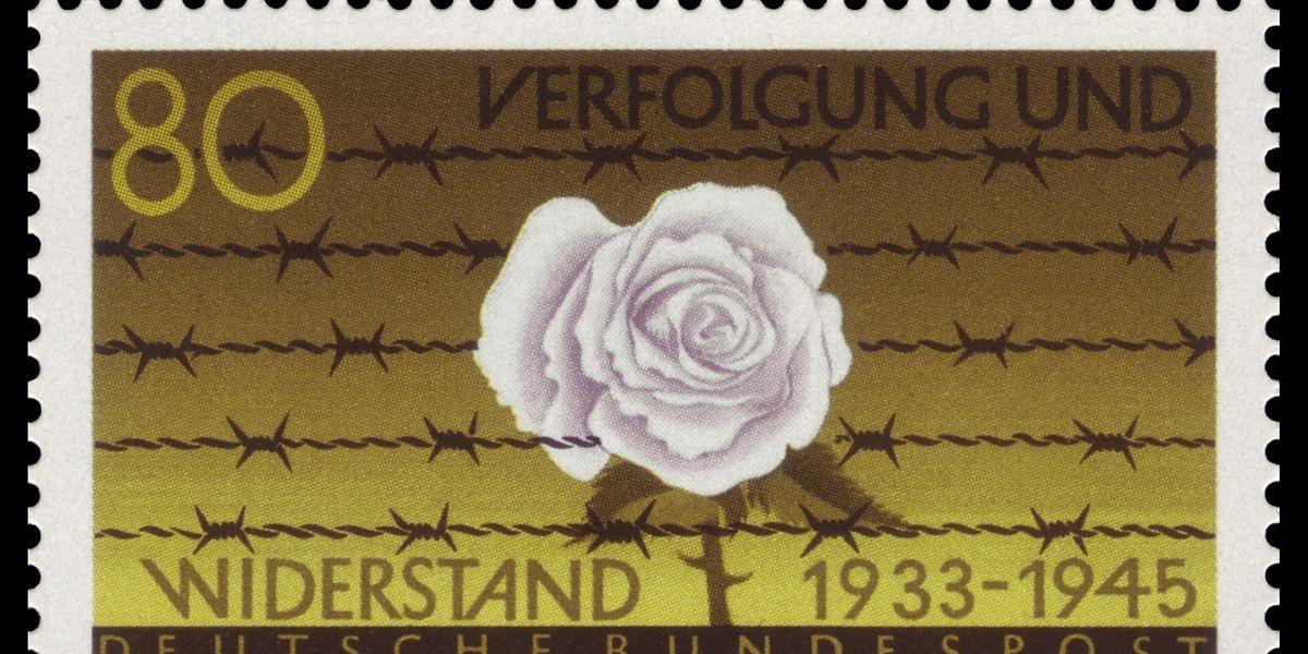 """Gedenkkultur """"West"""": Die BRD ehrte die """"Weiße Rose"""" mit einer Briefmarke."""