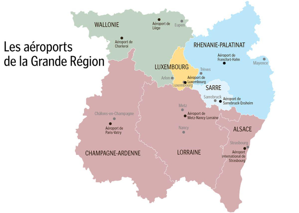 La Grande Région compte huit aéroports, tous ouverts à l'international.