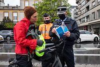 Lok , Sensibilisierungsaktion für die Fahrrradfahrer durch die Polizei , Fahrrad , Velo Foto:Guy Jallay/Luxemburger Wort
