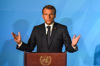 NEW YORK, NY - SEPTEMBER 23: President of France Emmanuel Macron speaks at the Climate Action Summit at the United Nations on September 23, 2019 in New York City. While the United States will not be participating, China and about 70 other countries are expected to make announcements concerning climate change. The summit at the U.N. comes after a worldwide Youth Climate Strike on Friday, which saw millions of young people around the world demanding action to address the climate crisis.   Stephanie Keith/Getty Images/AFP == FOR NEWSPAPERS, INTERNET, TELCOS & TELEVISION USE ONLY ==