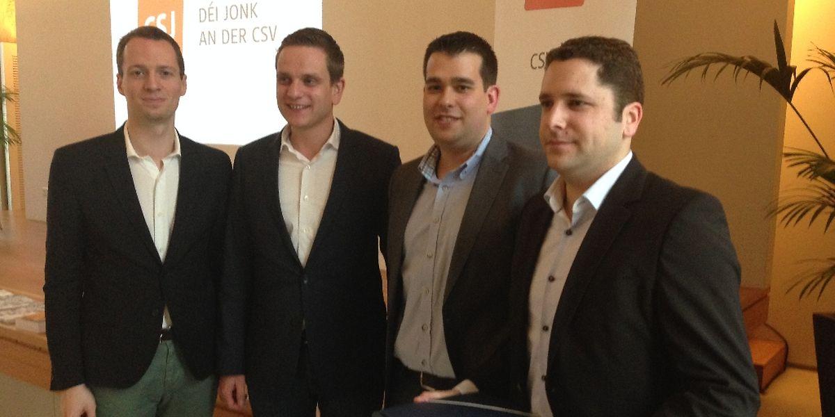 Serge Wilmes und der neue CSJ-Präsident Charel Hurt, sowie der neue Generalsekretär Fréd Ternes und sein Vorgänger Georges Weber.
