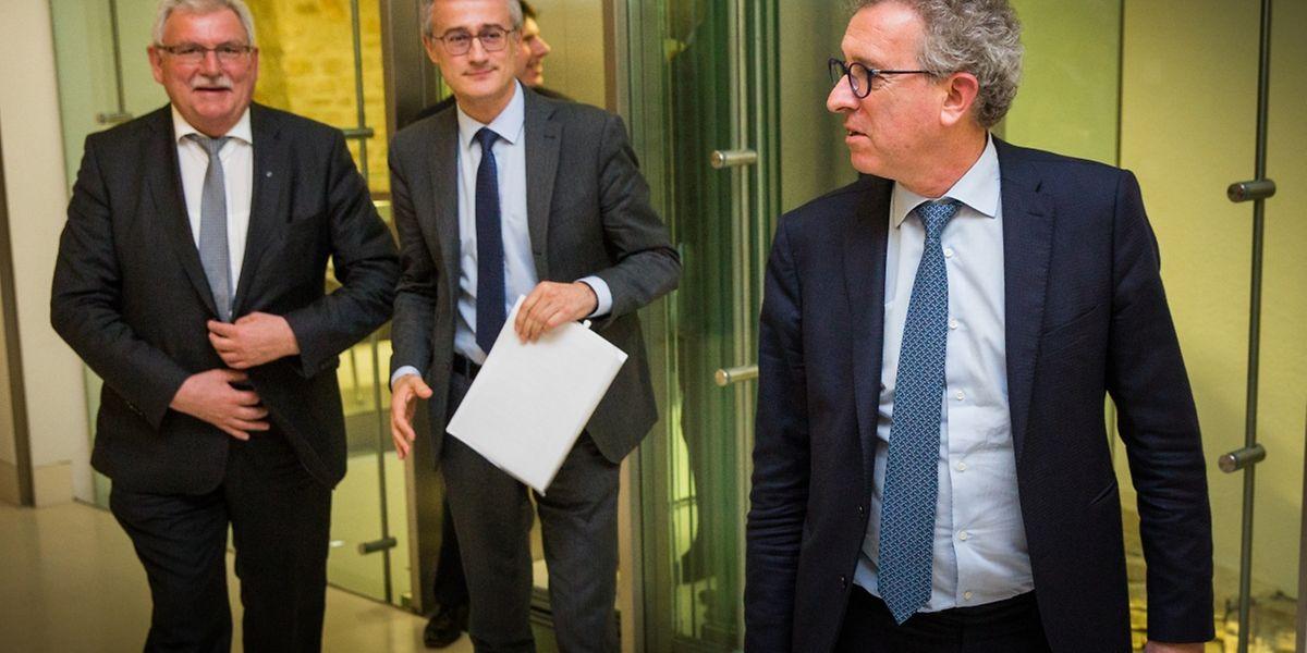 Le président de la Commission Panama Papers du Parlement européen, Werner Langen, suit les ministres Felix Braz (Justice) et Pierre Gramegna (Finances).