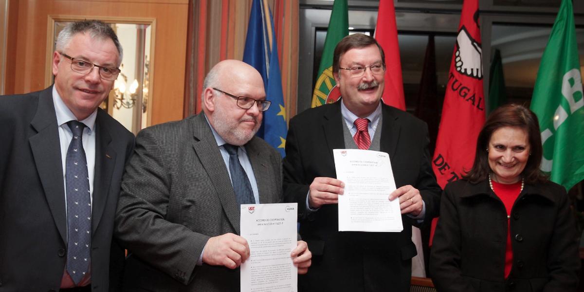 A UGT assinou hoje protocolos de cooperação com as centrais sindicais luxemburguesas OGBL e LCGB, um acordo que prevê a organização de conferências de informação sobre questões que afectem os emigrantes, como a dupla tributação