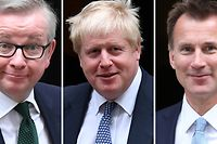 A combination of pictures created in London on June 13, 2019 shows the seven contenders left in the race for leader of the Conservative party after the first round of voting.(L-R) Britain's International Development Secretary Rory Stewart, Former Brexit Secretary Dominic Raab, Britain's Environment, Food and Rural Affairs Secretary Michael Gove, former foreign secretary Boris Johnson, Britain's Foreign Secretary Jeremy Hunt, Britain's Home Secretary Sajid Javid and Britain's Health and Social Care Secretary Matt Hancock. - Boris Johnson overwhelmingly won the first round of voting today in the race to replace outgoing British Prime Minister Theresa May, with the field of candidates narrowed to seven from 10. (Photo by STF / AFP)