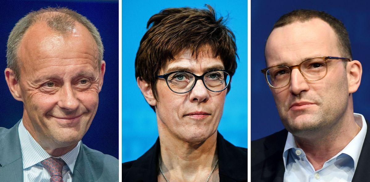Friedrich Merz, Annegret Kramp-Karrenbauer und Jens Spahn sind Kandidaten für den Parteivorsitz der CDU. (v.l.n.r.)