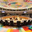 This picture taken on december 14, 2017 shows the room of the European council during the first day of a European union summit in Brussels on December 14, 2017. European leaders will discuss the migration crisis and defence on December 14, followed by Brexit the day after. / AFP PHOTO / ludovic MARIN