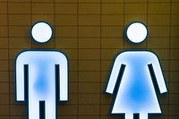 Photo de l'entré d'une toilette dans la gare du Luxembourg, Foto Lex Kleren