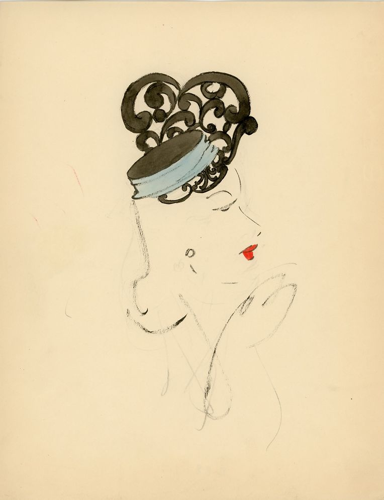 Illustration von Christian Dior für die Pariser Modistin Claude Saint-Cyr aus dem Jahr 1937.