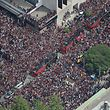 TORONTO, ON - JUNE 17: Fans fill the streets as they turn out for the Toronto Raptors NBA Championship Victory Parade after defeating the Golden State Warriors in the Finals on June 17, 2019 in Toronto, Canada. NOTE TO USER: User expressly acknowledges and agrees that, by downloading and or using this photograph, User is consenting to the terms and conditions of the Getty Images License Agreement.   Tom Szczerbowski/Getty Images/AFP == FOR NEWSPAPERS, INTERNET, TELCOS & TELEVISION USE ONLY ==