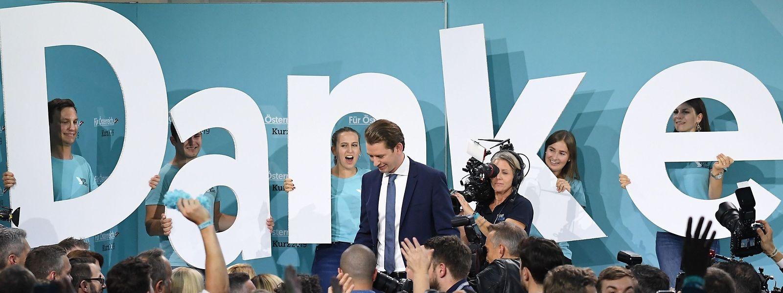 Sebastian Kurz nach seinem Wahlsieg am Sonntagabend.