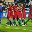 The players of Portugal celebrate the scoring of a goal against Moldova during their France 2019 Women Soccer World Championship qualifying match held at Bonfim Stadium, Setubal, Portugal, 24 November 2017. RUI MINDERICO/LUSA
