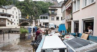 A clean-up operation near Vianden Castle following last week's floods