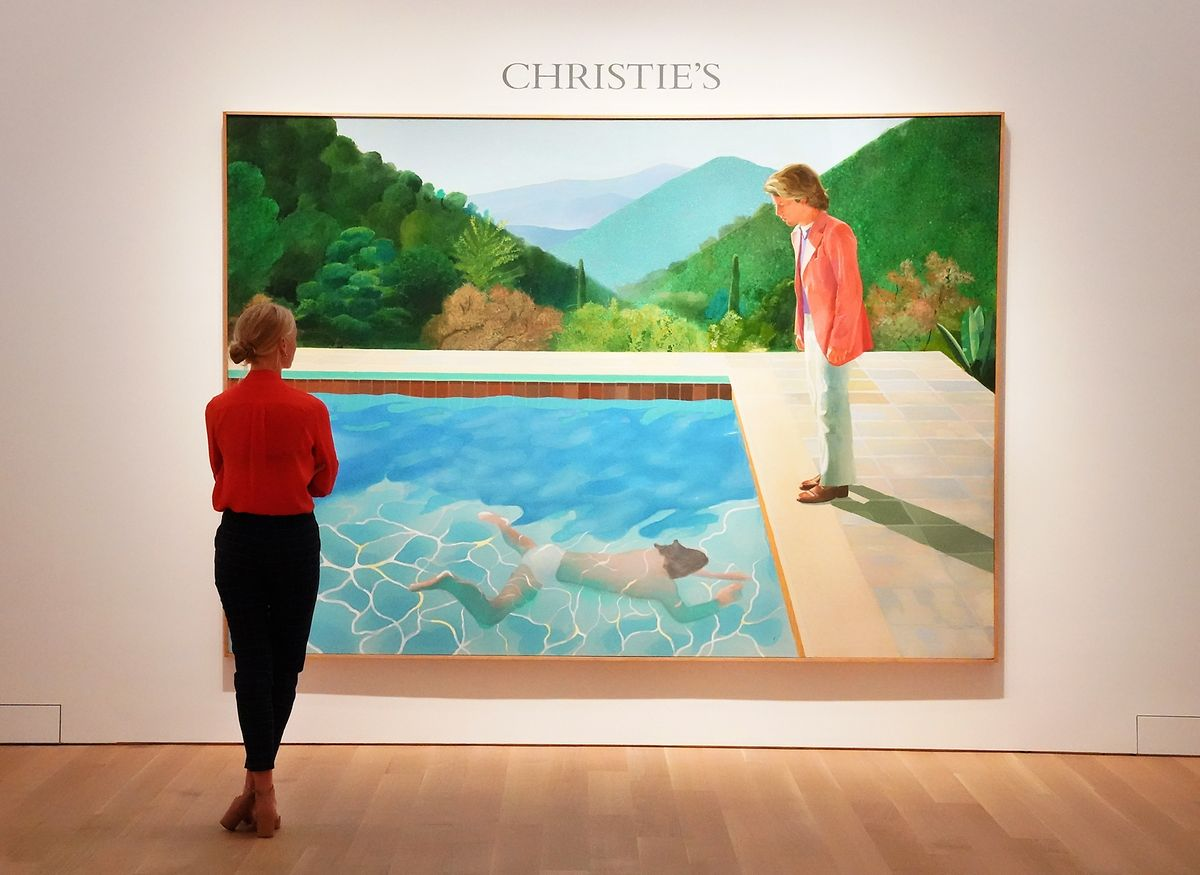 """David Hockneyís """"Portrait of an Artist"""" bei einer Versteigerung 2018 bei Christie's New York."""