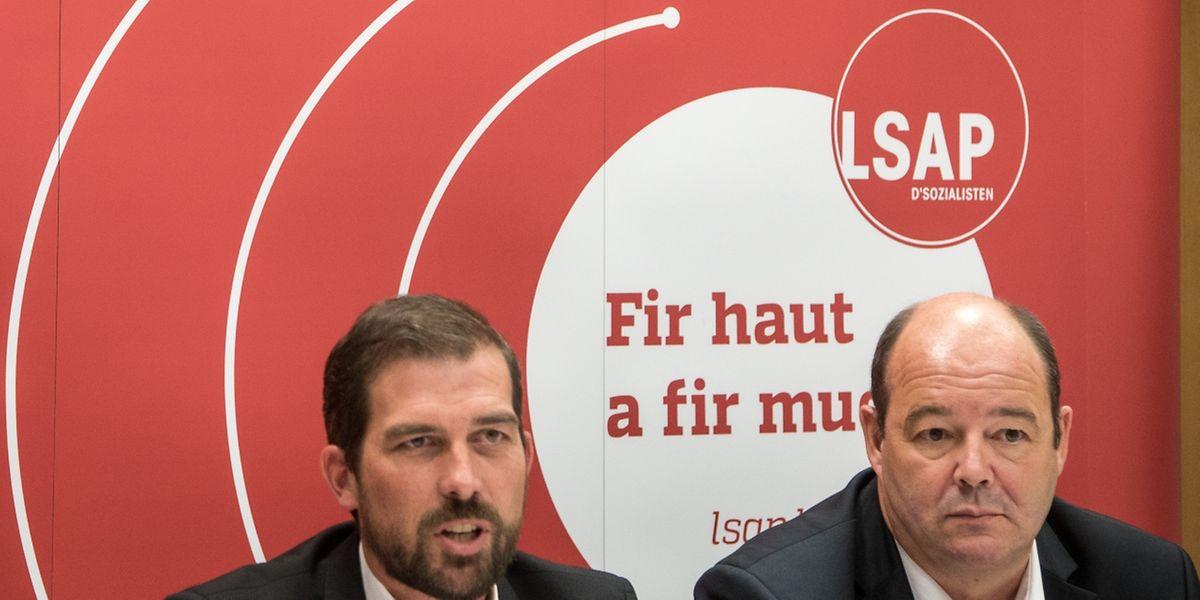 Yves Cruchten (Generalsekretär) und Claude Haagen (Parteipräsident) wollen das starke Ergebnis der LSAP von 2011 wiederholen.