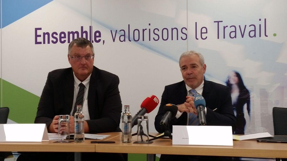 Marco Boly, directeur de l'ITM et Dan Kersch, ministre du Travail et de l'Emploi, lors de la présentation du rapport annuel 2018 aux chiffres records.