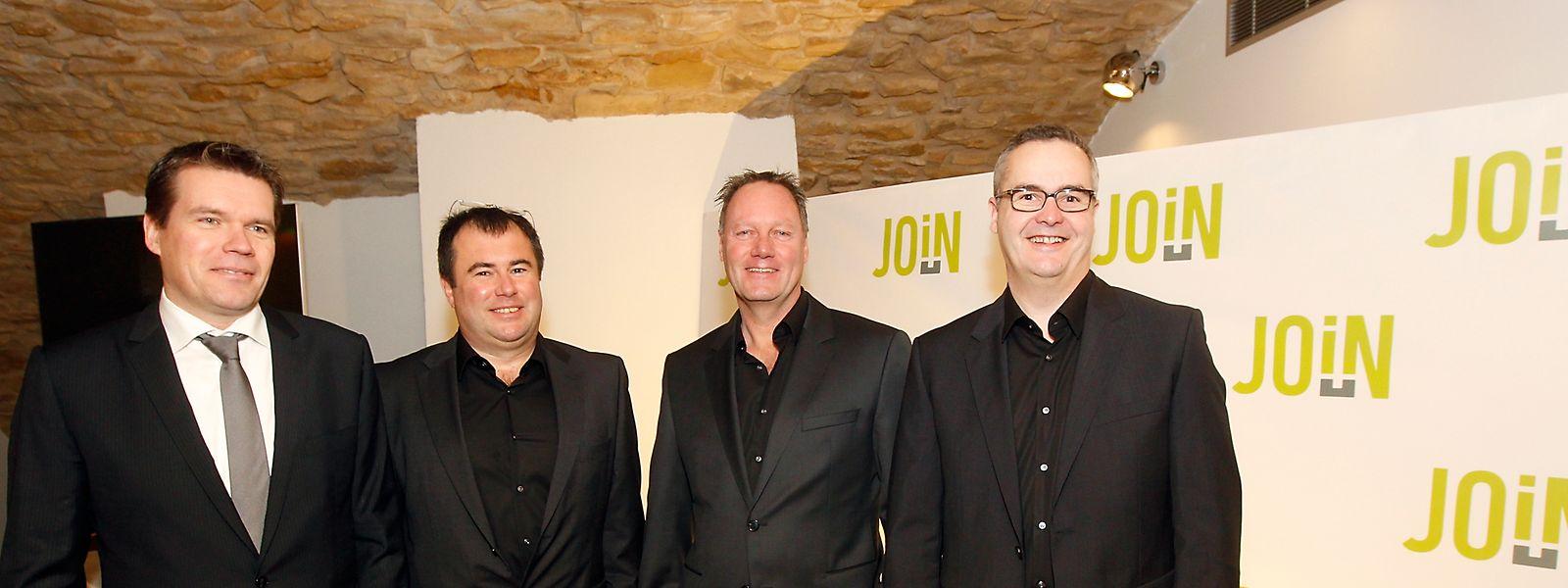 Join startete 2014 als Joint-Venture zwischen Post Capital und Join Wireless. Im Bild Post-Generaldirektor Claude Strasser mit den damaligen Partnern Pascal Koster, Frank Fischer rund Claude Lüscher.
