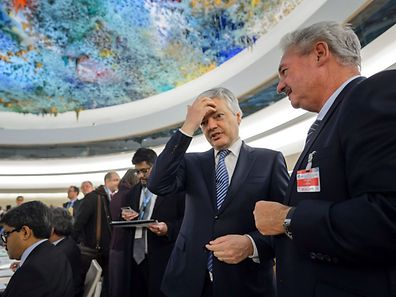 Luxembourg's Foreign Minister Jean Asselborn, right, unveiled the plans for an anti-radicalisation hotline during his speech at the conference in Geneva on Friday conference on preventing violent extremism