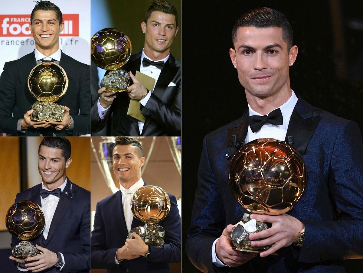 As cinco Bolas de Ouro de Cristiano Ronaldo.