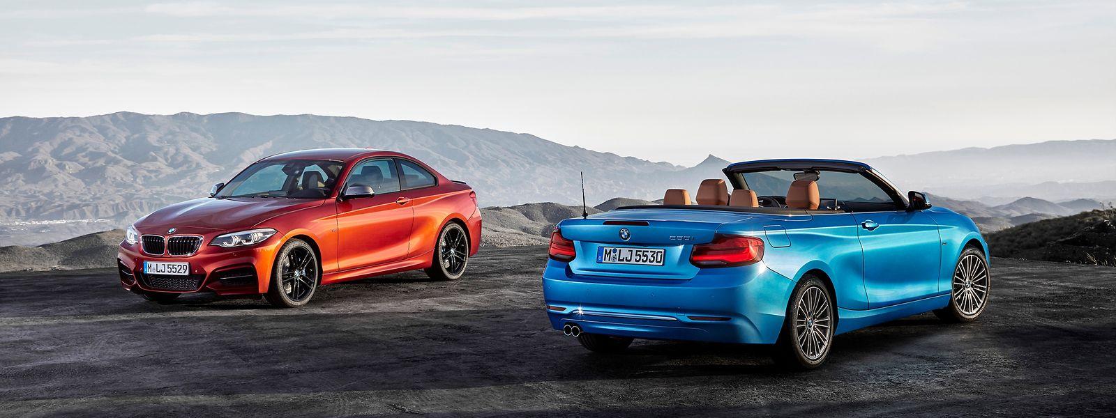 Das 2er-Coupé und das 2er-Cabrio warten unter anderem mit breiteren Lufteinlässen, neuem Leuchtendesign und neuen Rädern auf.