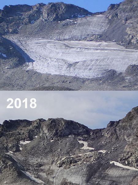Die Entwicklung des Pizolgletschers zwischen den Jahren 2006 und 2018.