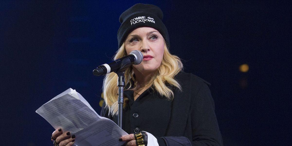 Madonna en 2014 lors d'un concert en faveur des droits de l'Homme, à New York.