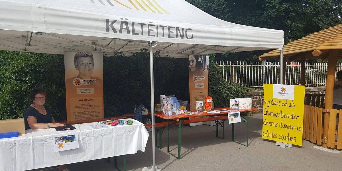 Bei zahlreichen Veranstaltungen, wei dem Jukate-Run in Kayl, informieren Mitglieder des Plooschter Projet über die Stammzellenspende.