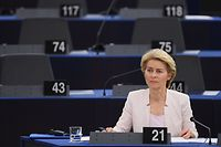 Outgoing German Defence Minister and EU Commission president nominee Ursula von der Leyen attends a debate on her candidacy for President of the Commission at the European Parliament on July 16, 2019 in Strasbourg, eastern France. (Photo by FREDERICK FLORIN / AFP)