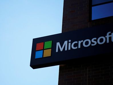 A sign marks the Microsoft office in Cambridge, Massachusetts, U.S