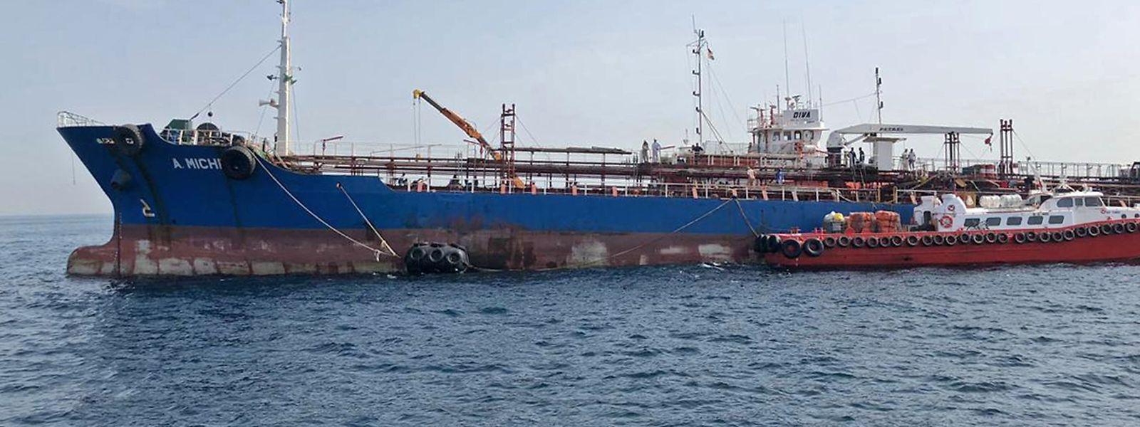 Der Tanker A. Michel ist eines von vier Schiffen, die bei Sabotageabgriffen beschädigt wurden.