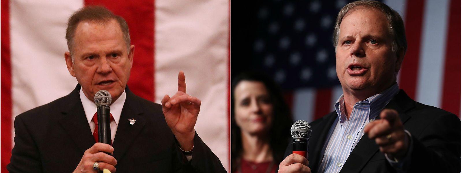 Sollte Roy Moore (l.) den Sitz der Republikaner nicht gegen Doug Jones verteidigen können, schrumpft Trumps Mehrheit auf einen Sitz.