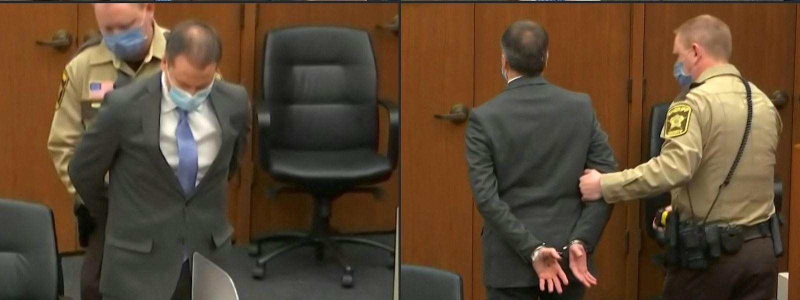 Chauvin wird nach der Urteilsverkündung abgeführt.