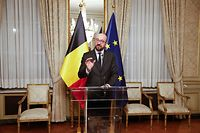 Belgian Prime Minister Charles Michel gives a press conference after a Kern meeting, a restricted ministers meeting of the Federal Government in Brussels, on December 8, 2018. (Photo by NICOLAS MAETERLINCK / BELGA / AFP) / Belgium OUT
