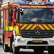 """Die ersten Einsatzfahrzeuge ziert bereits das neue Logo mit dem markanten Löwenkopf sowie dem Schriftzug """"Incendie Secours""""."""