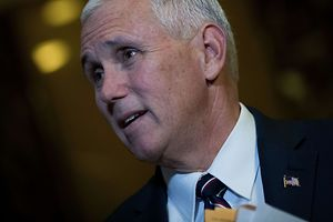 NEW YORK, NY - NOVEMBER 18: Vice President-elect Mike Pence stops and speaks briefly to reporters at Trump Tower, November 18, 2016 in New York City. Trump and his transition team are in the process of filling cabinet and other high level positions for the new administration.   Drew Angerer/Getty Images/AFP == FOR NEWSPAPERS, INTERNET, TELCOS & TELEVISION USE ONLY ==