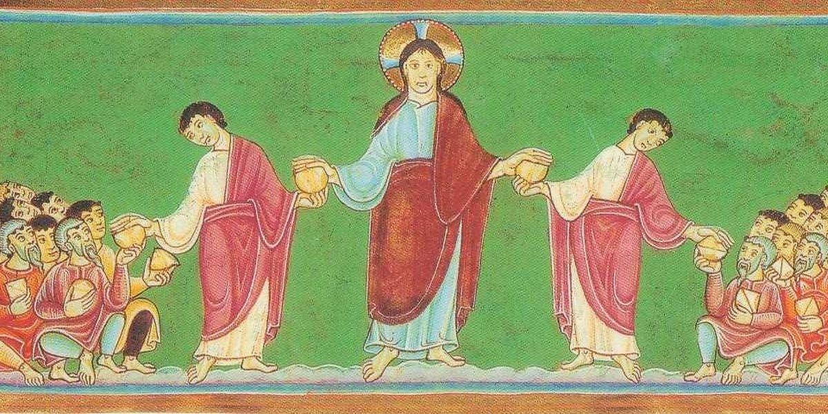 Dieses Bild wurde vor rund 1000 Jahren im Skriptorium des Klosters Echternach gemalt.