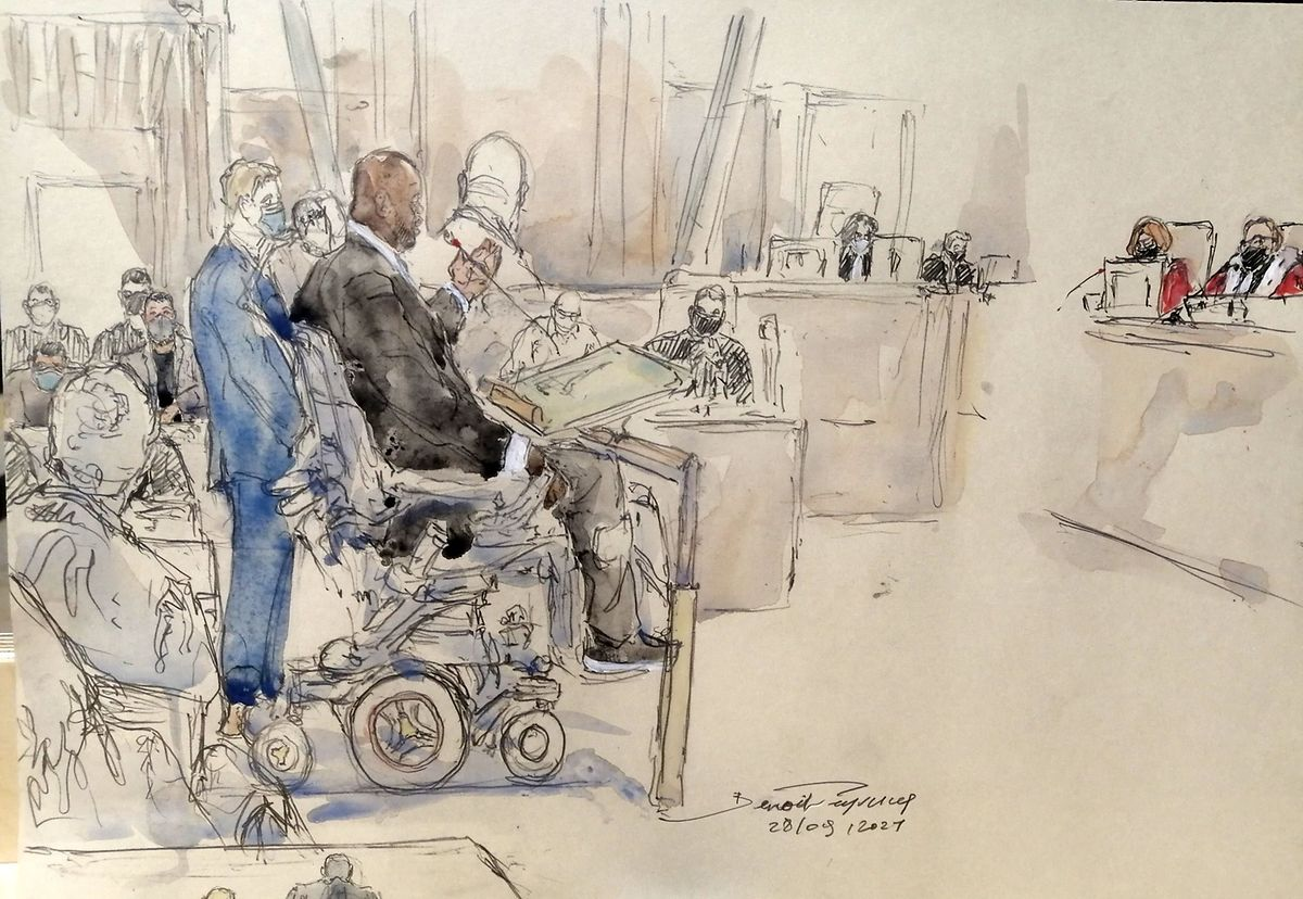 An artist's sketch of a victim of the attack giving testimony in court