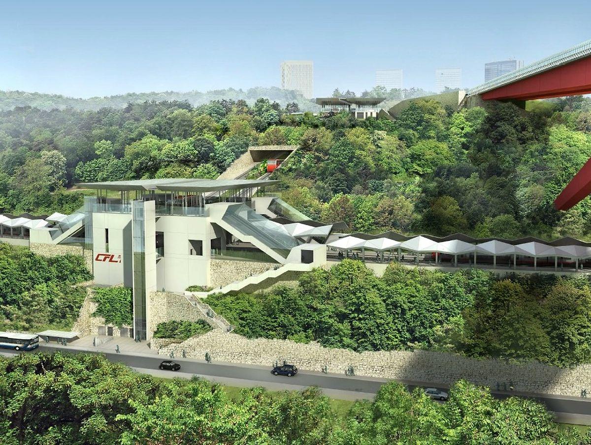 """Wegen dem Bau der Bahnhofs """"Roud Bréck"""" wird die Strecke in Pfaffenthal während den kommenden drei Jahren nur eingleisig befahrbar sein."""