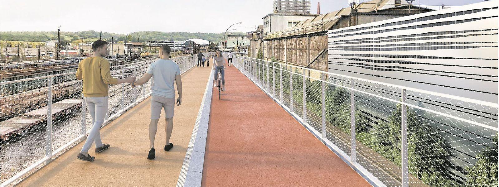 So soll der Fahrradexpressweg PC8 einmal aussehen. Die Wege für Fußgänger und Radfahrer sollen optisch getrennt werden.