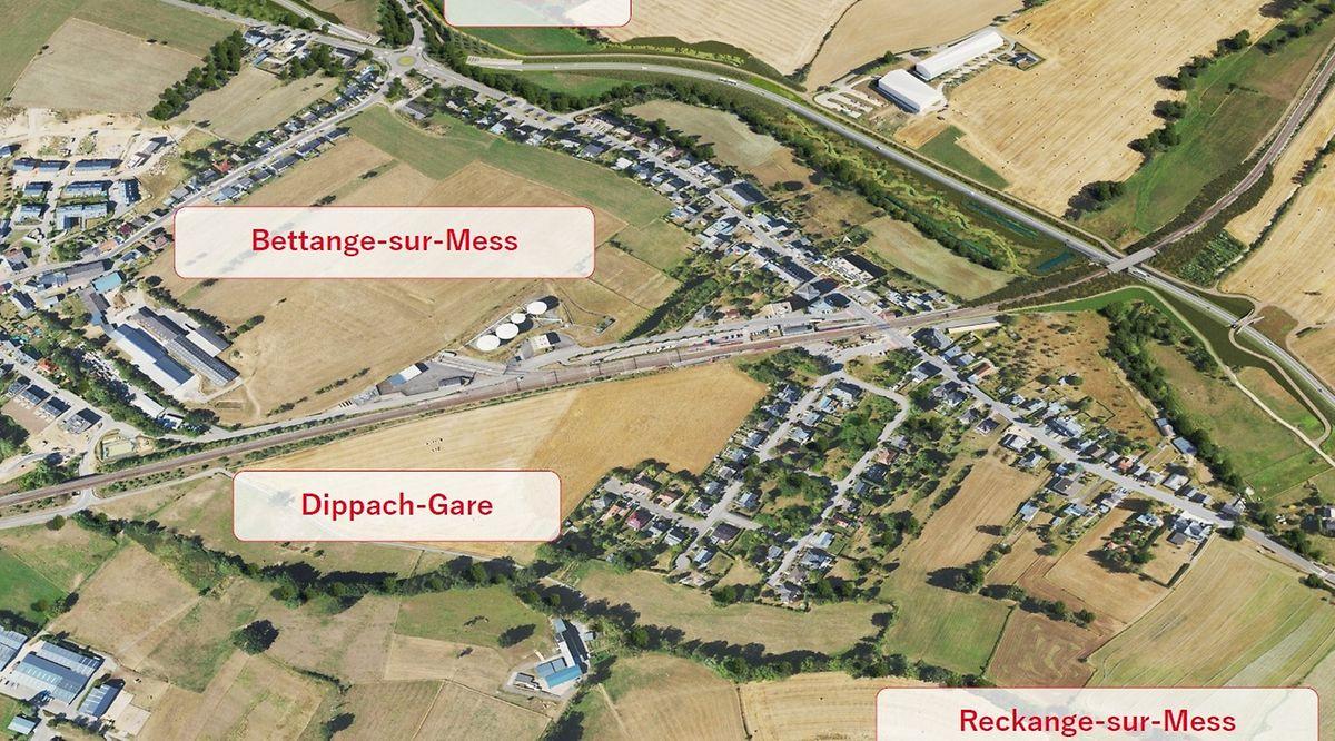 Betroffen von der Umgehung sind die Ortschaften Reckingen/Mess, Bettingen/Mess, Dippach-Gare und indirekt das Wohnviertel Haard.