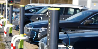 Cars parked at charging stations in Luxembourg