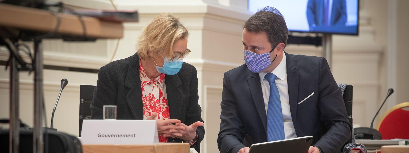 Premierminister Bettel und Gesundheitsministerin Lenert.