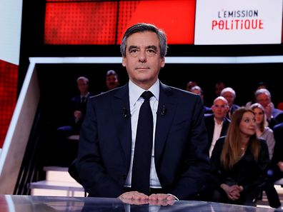 "French presidential election candidate for the right-wing Les Republicains (LR) party Francois Fillon prior to take part in the political TV show ""L'emission politique"""