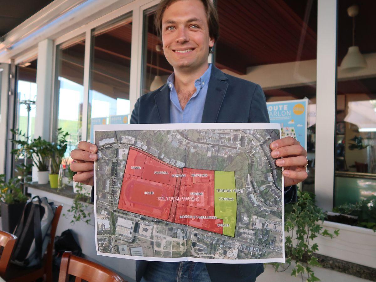 83% de la surface du futur quartier (en rouge sur la carte) est la propriété de la Ville de Luxembourg. La ligne droite à la base du rectangle représente la route d'Arlon.