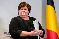 Belgian Minister of Health, Social Affairs, Asylum Policy and Migration Maggie De Block attends a press conference after a Minister's council of the Federal Government, on March 20, 2020 in Brussels, on the support plans for economic and social consequences of the COVID-19 pandemic caused by the novel cronavirus. (Photo by Daina LE LARDIC / BELGA / AFP) / Belgium OUT