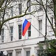 "The Russian flag flies from the Russian consulate in central London on March 15, 2018. Britain's Prime Minister Theresa May said Moscow was ""culpable"" of the attempted murder of Skripal, a Russian spy who sold secrets to the MI6 British intelligence agency and came to Britain in a 2010 spy swap. She announced the expulsion of 23 diplomats and the suspension of some high-level contacts. / AFP PHOTO / Justin TALLIS"
