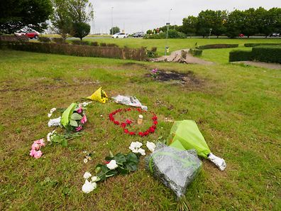 Flowers were left at the site of Sunday's accident at the Raemerich roundabout in Esch-sur-Alzette