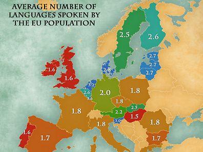 Diese Karte zeigt die Sprachkenntnisse der Europäer. (Zum Vergrößern bitte rechts klicken).