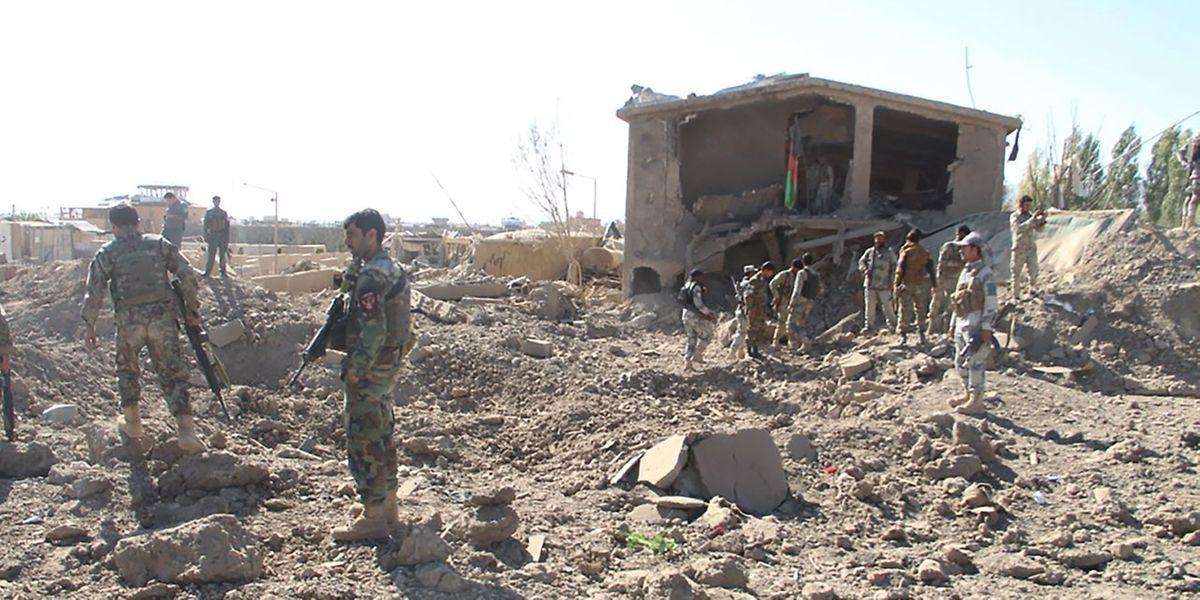 Afghanische Soldaten an einem der Anschlagsorte.